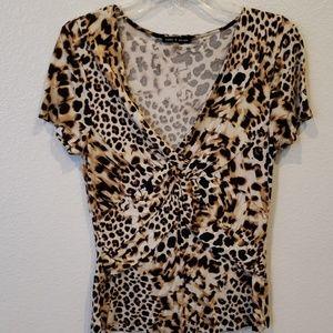 Cable & Gauge leopard print blouse size L